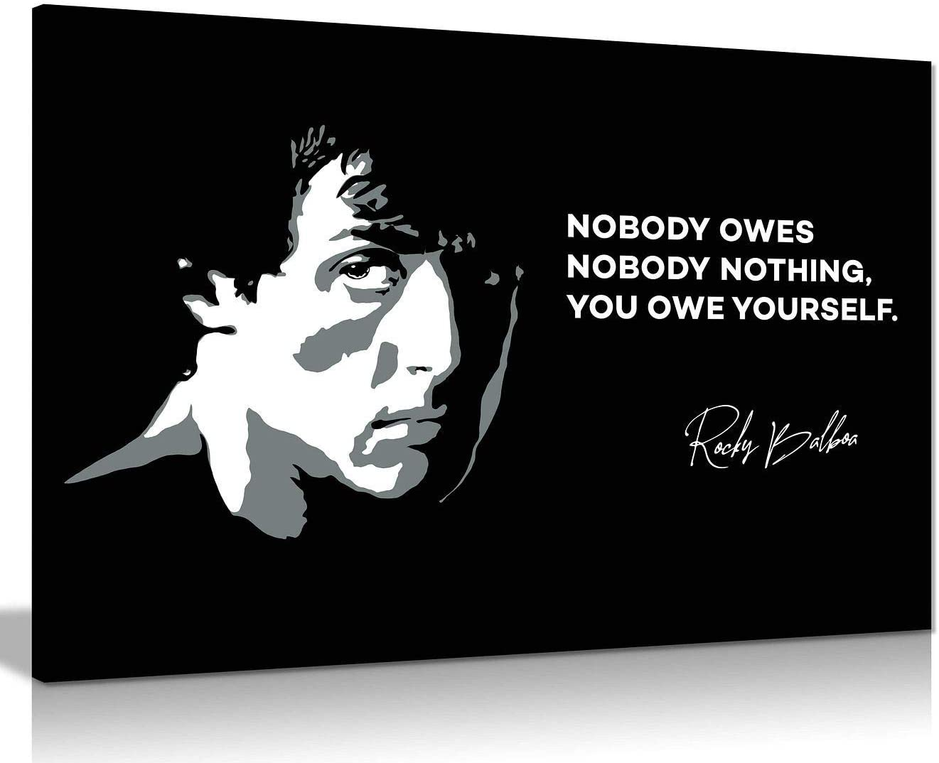 Rocky Canvas Print You Owe Yourself Quote Black & White Canvas Wall Art Picture Print Home Decor (12x8in)