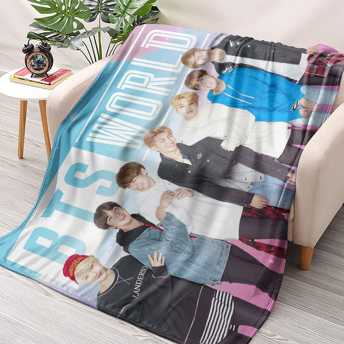 NBBZ Kpop BTS Band Flannel Throws Blankets Couch Sofa Fuzzy Blanket for Traveling Camping Home (59