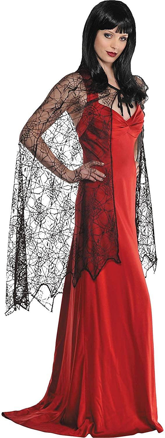 Amscan 840869 Black Spider Web Cape for Adult Women, 1 Piece