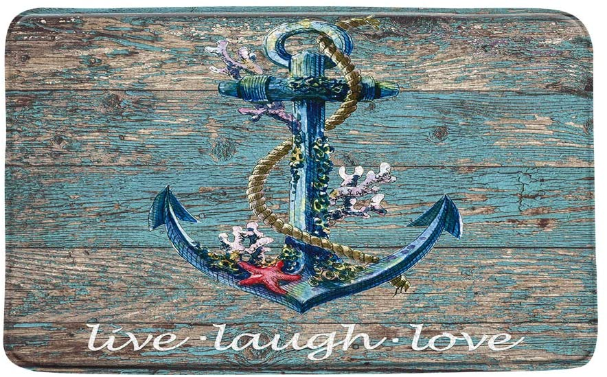 LIVEFUN Nautical Anchor Bath Mat Rustic Wooden Hope Anchor with Coral Starfish Live Laugh Love Ocean Vintage Old Board Microfiber Memory Foam Bathroom Rugs,20x31Inch