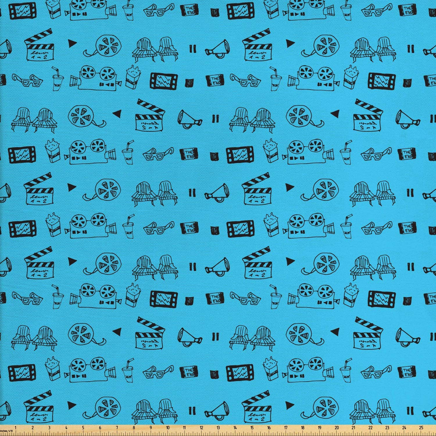 Ambesonne Blue and Black Fabric by The Yard, Doodle Style Cinema Movie Theater Camera Seat Popcorn Clapper, Decorative Fabric for Upholstery and Home Accents, 1 Yard, Blue Black