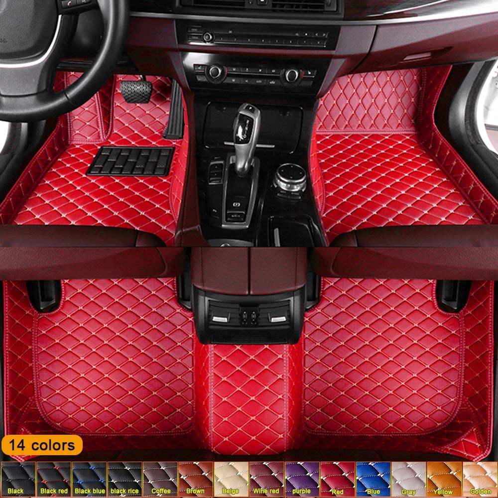 Jiahe Custom for Pontiac All Models Floor Mats Full Coverage All-Weather Artificial Leather Protection Mat Waterproof & Dustproof Red