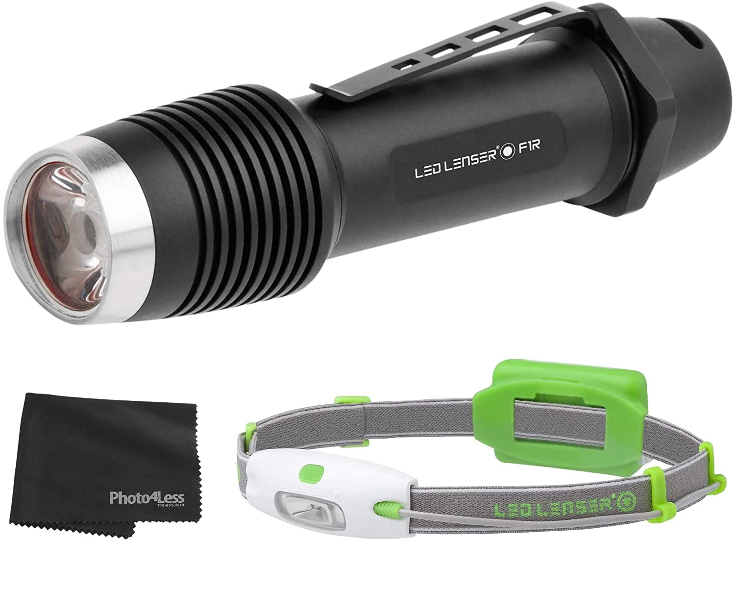 LEDLENSER F1R Rechargeable LED Flashlight, 1,000 Lumen, Black + Running Sport Neo H4 Headlamp Wide Beam, 90 Lumens and Lens Cleaning Cloth