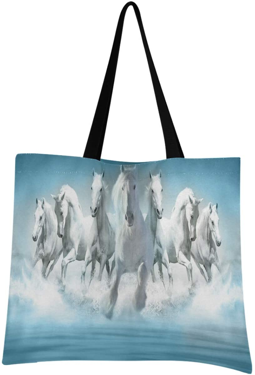 Olinyou White Animal Horse Canvas Shoulder Tote Bag Large Top Handle Reusable Grocery Shopping Bag for Women Men Beach Travel Gym