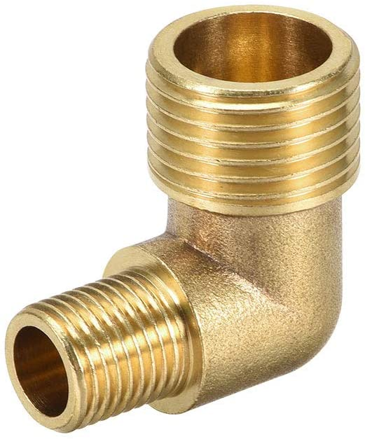 uxcell Brass Pipe Fitting 90 Degree Elbow G1/4 Male X G1/2 Male