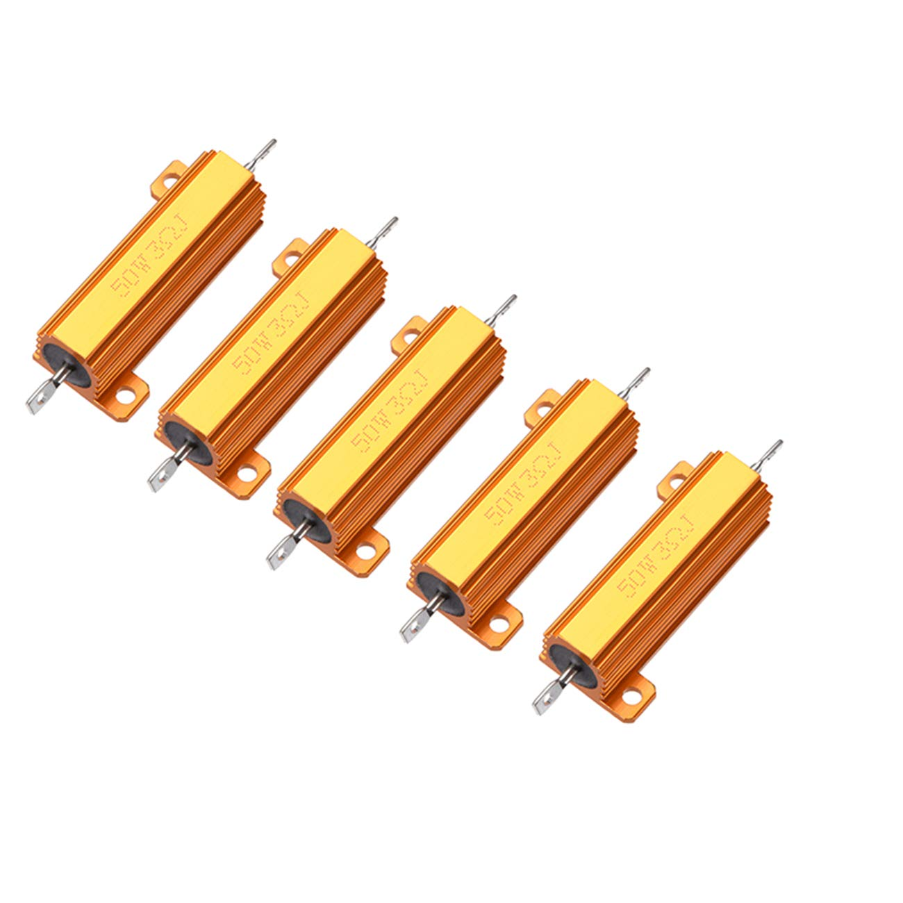 HLin 5Pcs 3 OHM 50W Aluminum Housed Wire Wound Resistor Gold Tone