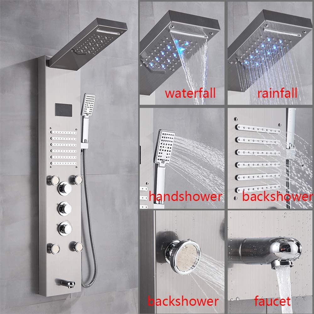 Zovajonia Shower Panel Brushed Nickel LED Multi-function Rainfall Waterfall Shower Head Massage Jets Tub Spout Stainless Steel Shower System