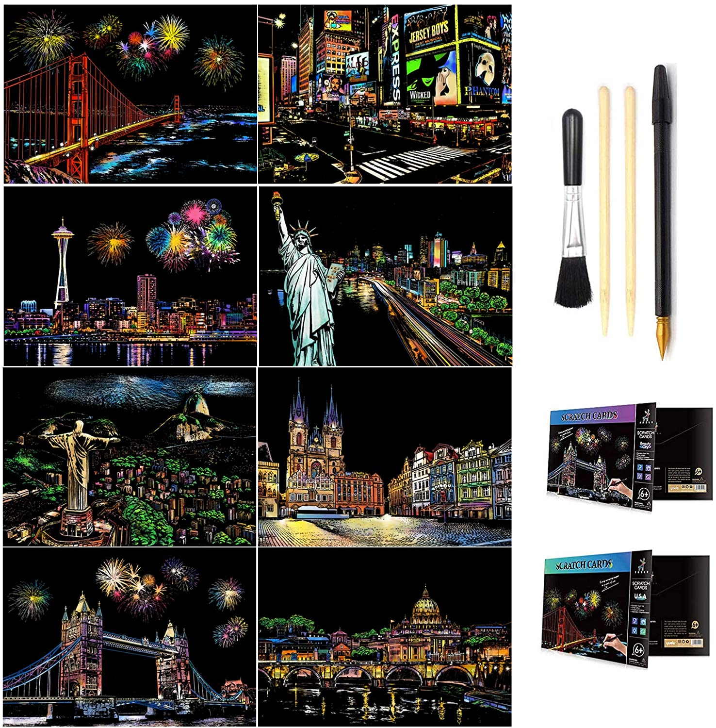 Scratch & Sketch Art Paper A4 for Kids & Adults, Rainbow Painting Night View Scratchboard, Art&Craft, Engraving Art Set: 8 Sheets Scratch Cards & Scratch Drawing Pen, Clean Brush (8Pack) (D)