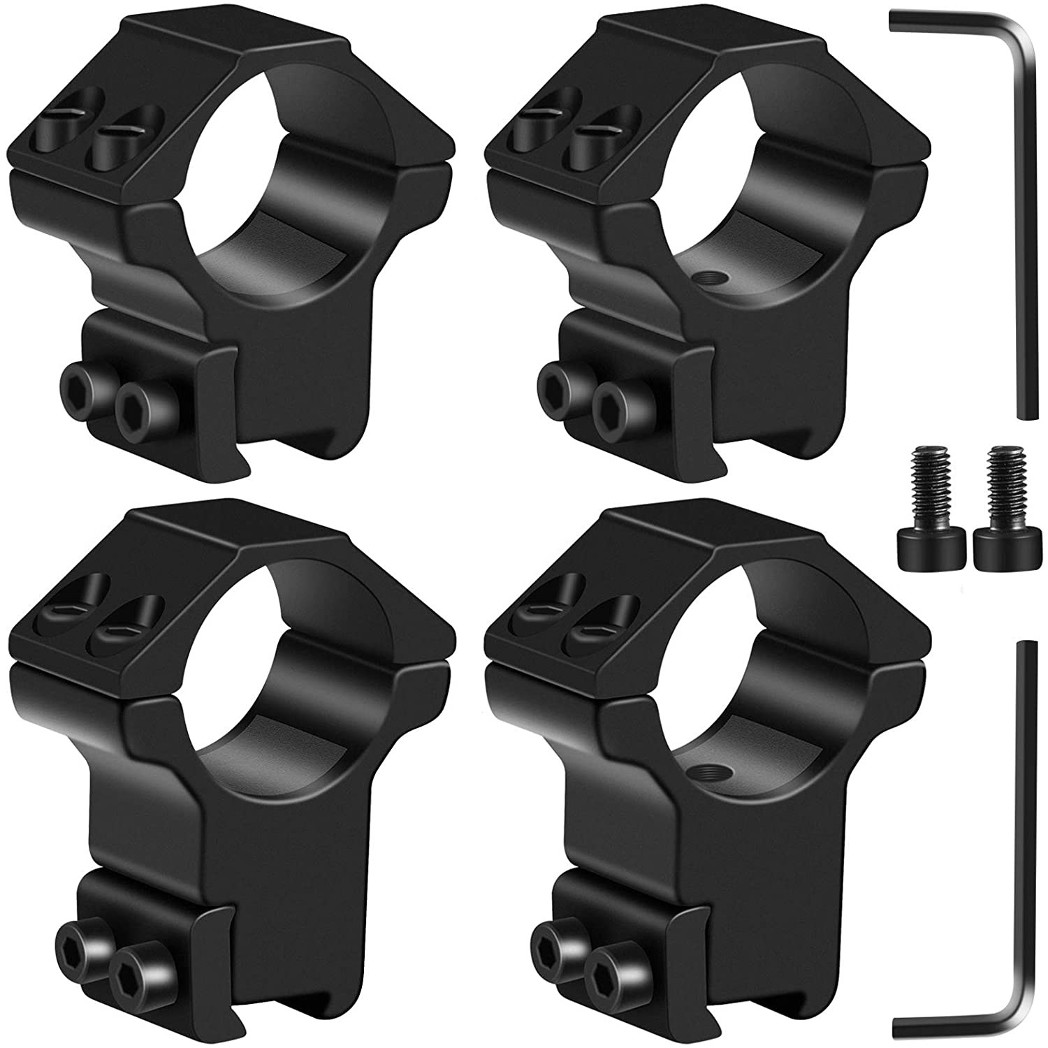 LONSEL 1'' Dovetail Scope Rings, 2Pcs High Profile & 2Pcs Medium Profile 1 Inch Scope Mount Rings for 11mm Dovetail Rails - Pack of 4
