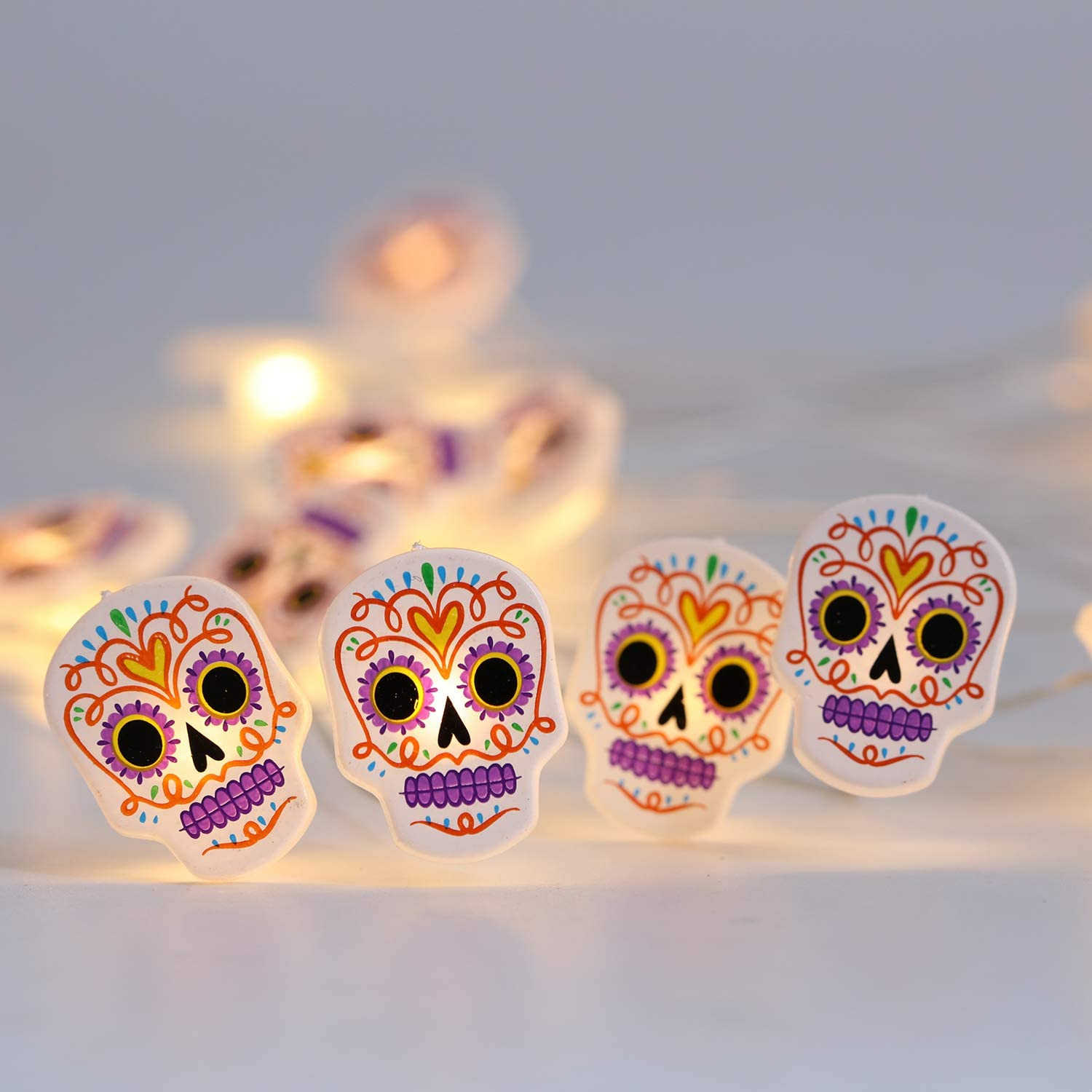 MYTH REALM Halloween Skull String Lights, 20 LED, Battery Operated, Timer, Mexican Calavera Pattern, Decorative Lights for Halloween Party, Scenes, Haunted House