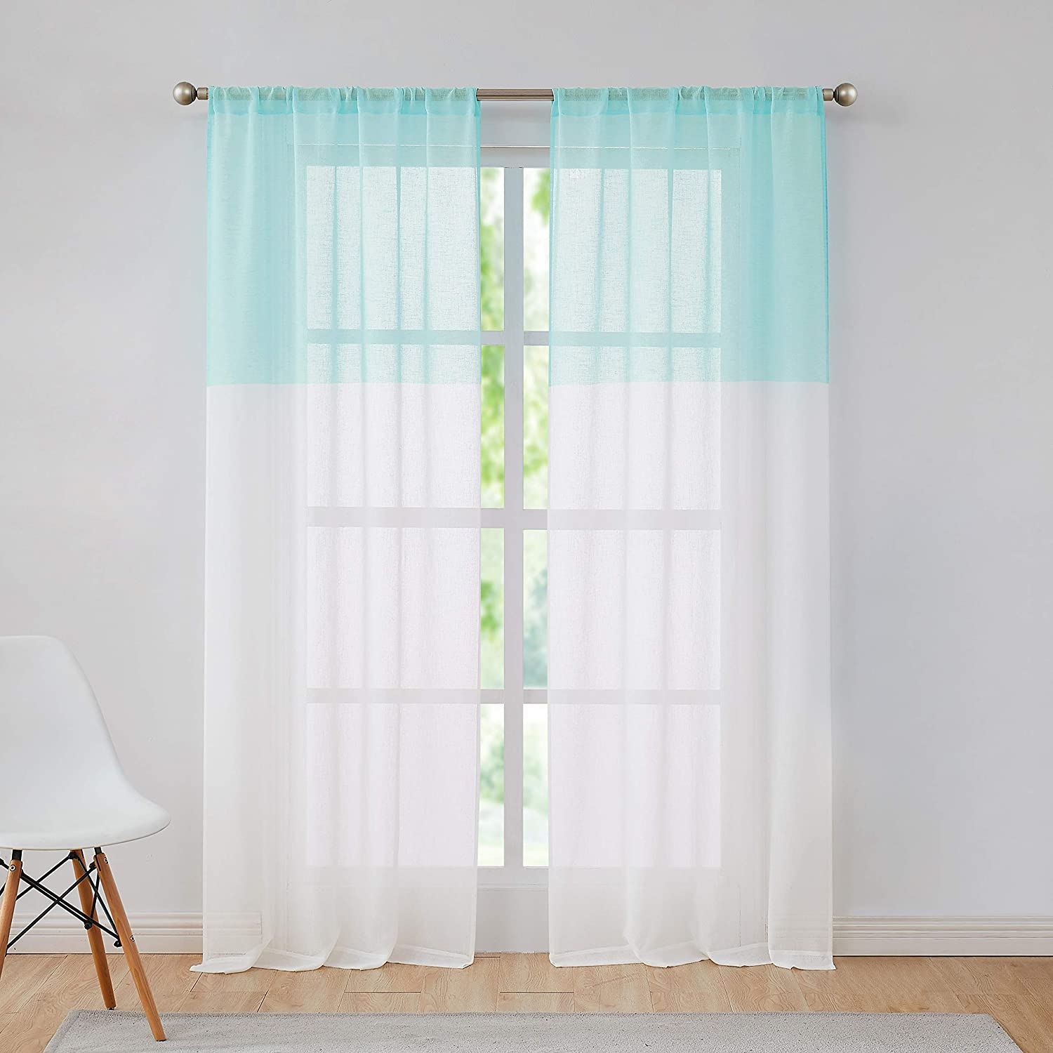 Central Park Spa Blue and White Stripe Sheer Color Block Window Curtain Panel Pairs Linen Drape Treatment for Bedroom Living Room Farmhouse 63 inches Long with Rod Pocket,2 Panel Rustic Living Panels