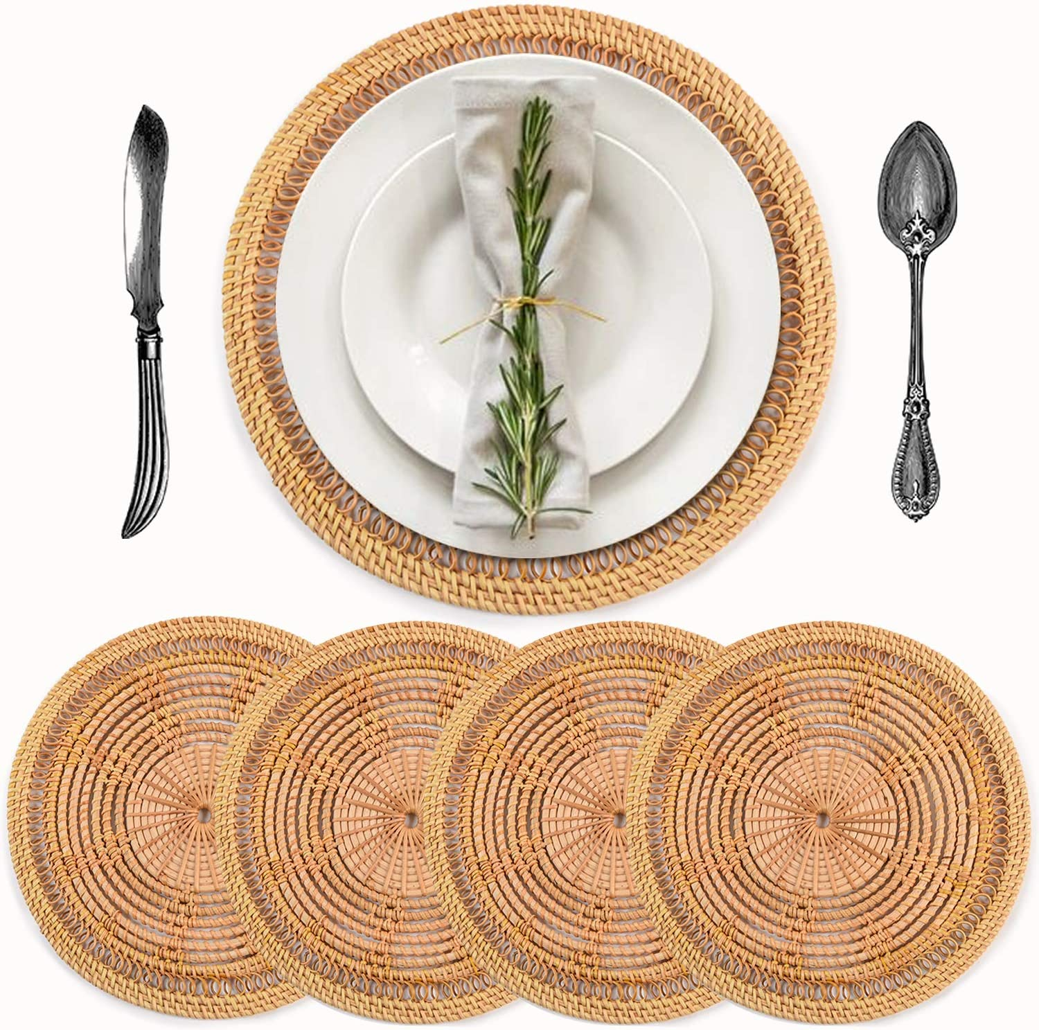 Handmade Rattan Placemats for Round Table, Round Placemats can be Used as Place mats, Rattan Decor, Rattan Side Table, Boho placemats or Rattan Chargers, Wicker placemats 11.8 in, 4 Pcs, Flower