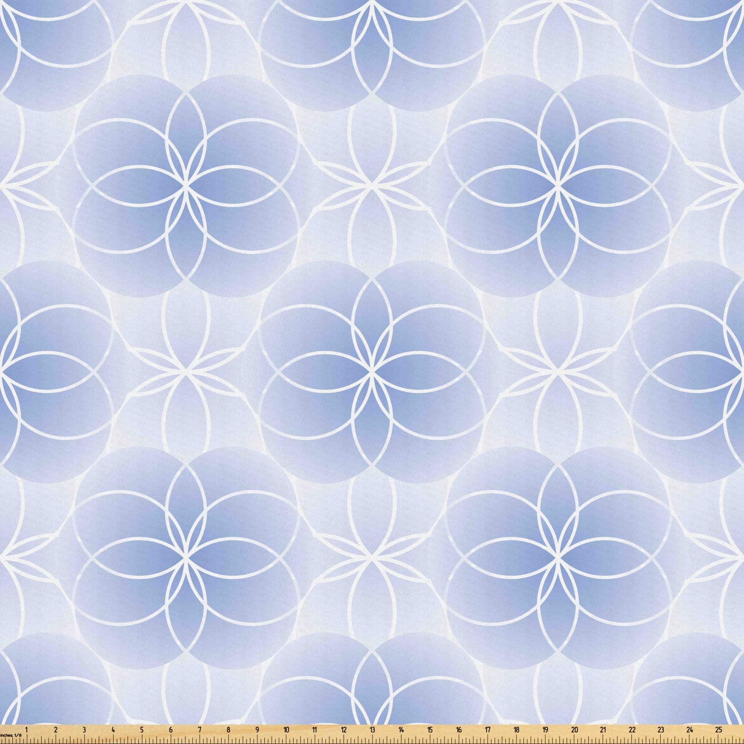 Ambesonne Geometry Fabric by The Yard, Proportion of The World with Intersecting Concentric Spiral Art, Microfiber Fabric for Arts and Crafts Textiles & Decor, Pale Blue