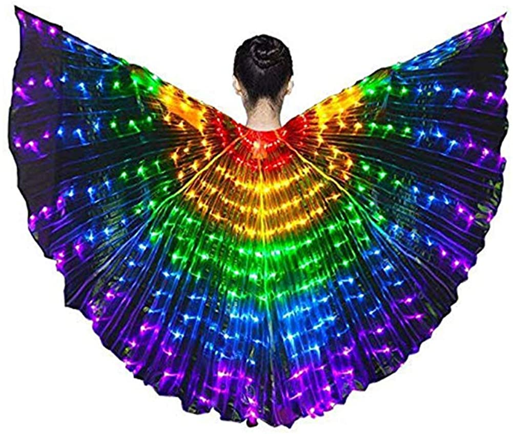 SUPOW Kids LED Butterfly Wings Colorful Dance Wings Luminous Wings Costumes with Telescopic Stick for Belly, Stage Shows, Halloween, Christmas Party, Kids Children Girls
