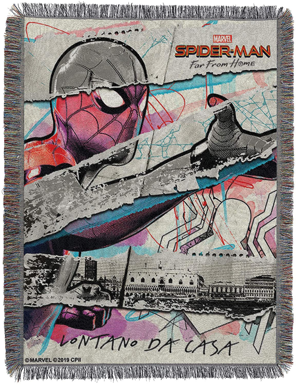 Marvel Spider-Man Far from Home, Da Casa Woven Tapestry Throw Blanket, One Size, Multi Color