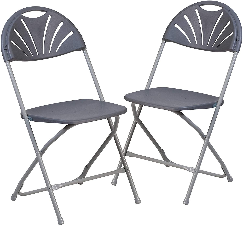 Flash Furniture 2 Pk. HERCULES Series 650 lb. Capacity Charcoal Plastic Fan Back Folding Chair