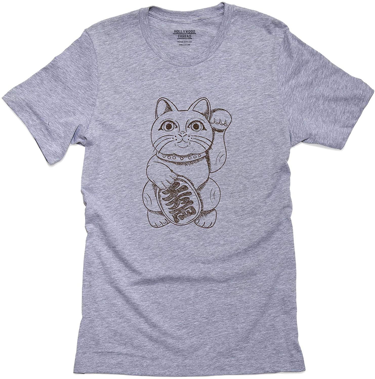 Hollywood Thread Lucky Cat Asian Premium 100% Men's Cotton T-Shirt