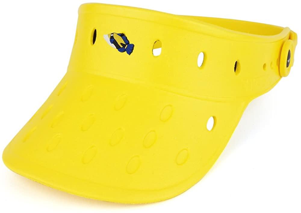 Trendy Apparel Shop Durable Adjustable Floatable Summer Visor Hat with Huma Fish Snap Charm