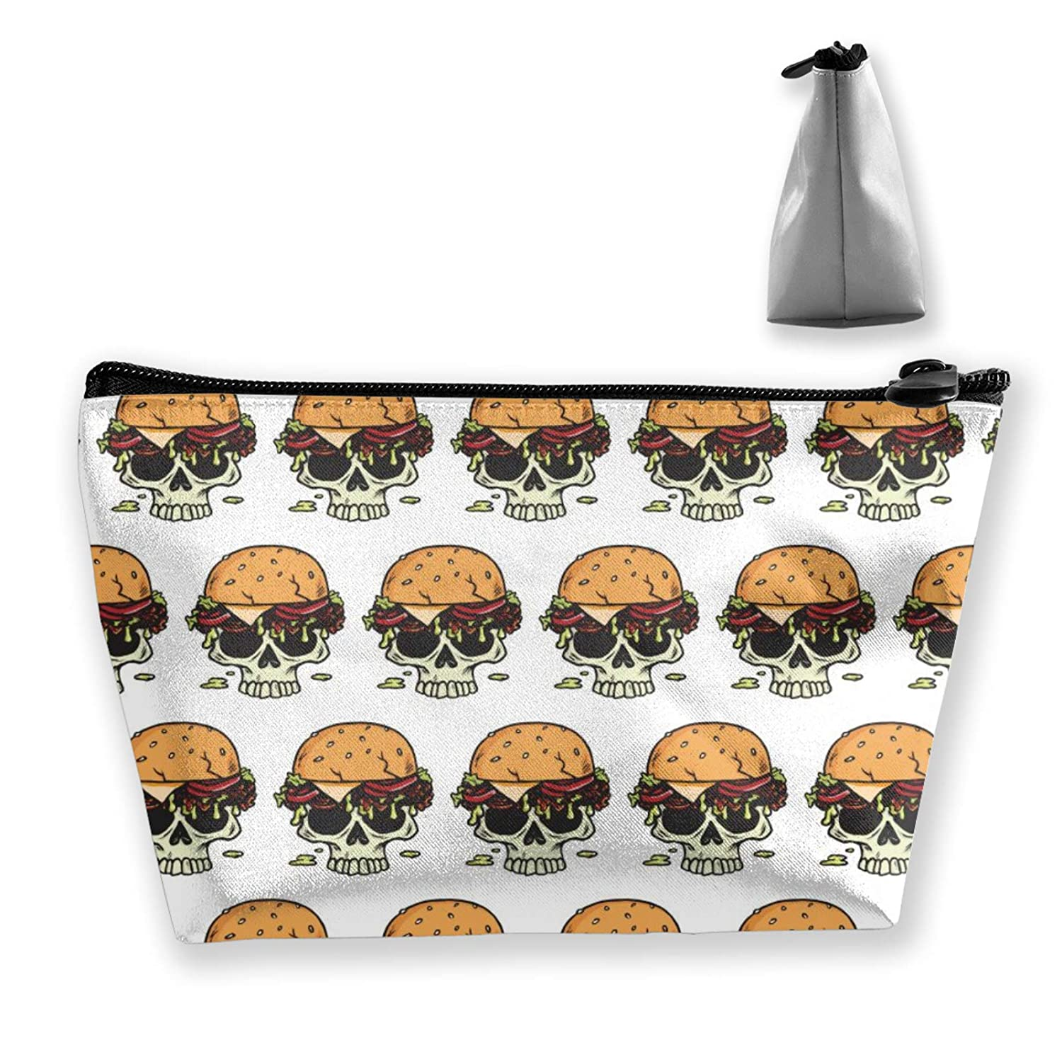 Skeleton Skull Head With Hamburger Hat Storage Bag Holder Portable Gift For Girls Women Large Capacity Cosmetic Train Case For Cosmetics Jewelry Premium Travel Bag