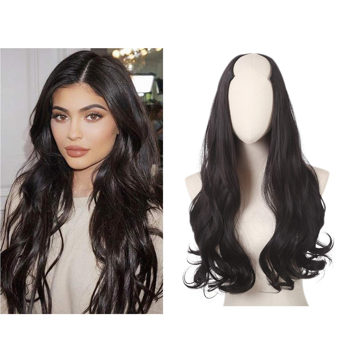 U part Half Wig Clip in Black Body Wave Curl Thick Full Head Synthetic Hair Extensions Hairpiece For Women None Lace Front Cosaplay Wigs Kanekalon Heat Resistant Fiber SARLA 24