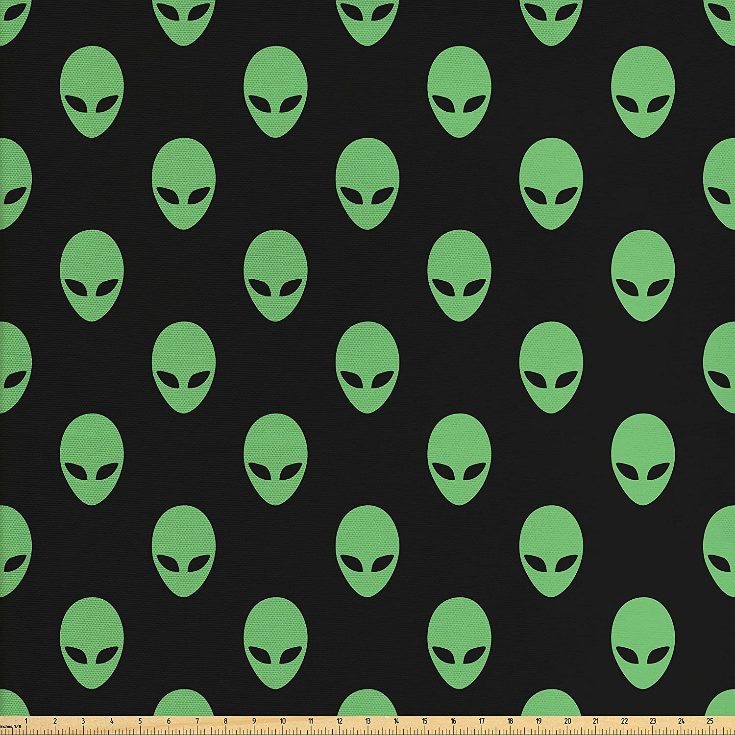 Ambesonne Alien Fabric by The Yard, Supernatural Martiansal Beings from Other Planets Head of an Alien, Decorative Fabric for Upholstery and Home Accents, Fern Green Black