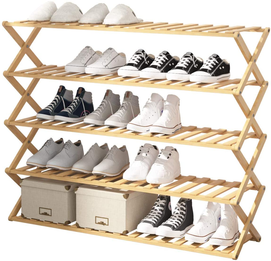 UDEAR Bamboo Shoe Rack,Foldable Free Standing Shoe Shelf Storage Organizer Multifunction,Free Installation,Living Room,Bathroom,Balcony,39.37×11.02×31.5inches,5-Tier,Wood Color