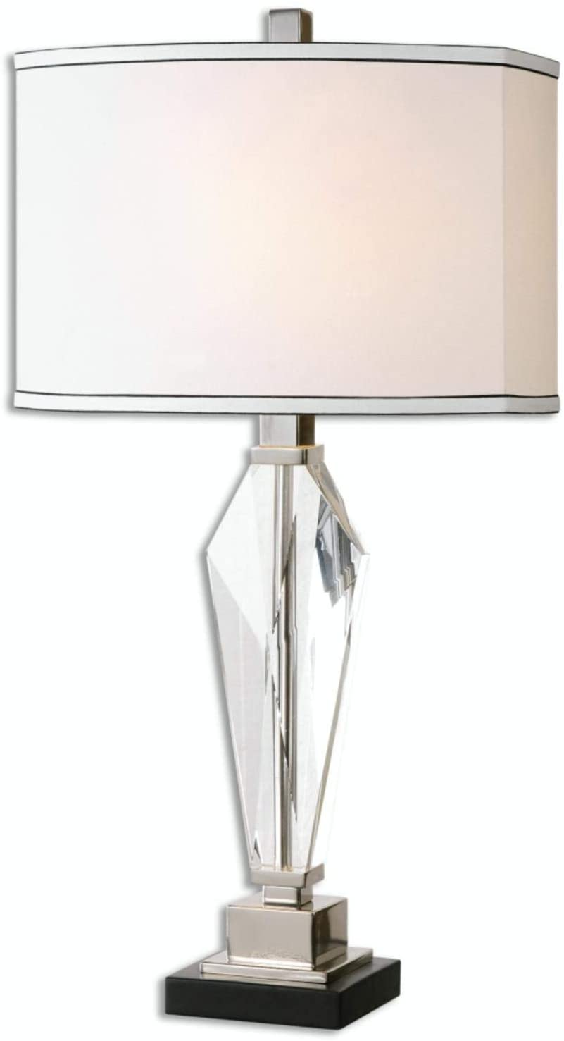 Diva At Home 28.75 Elegant Cut Crystal and Nickel Table Lamp with Oval Linen Hardback Shade