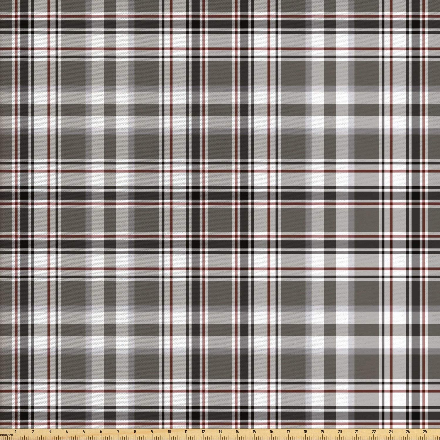 Lunarable Plaid Fabric by The Yard, Classic English Tartan Plaid Cells Stripes Scottish Geometric Traditional, Decorative Fabric for Upholstery and Home Accents, 10 Yards, Burgundy Black
