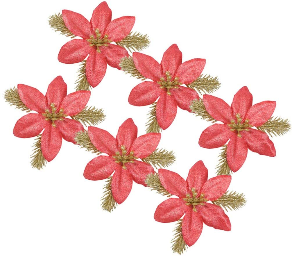TOYANDONA 6pcs Christmas Glitter Poinsettia Artificial Silk Flowers Glitter Floral Leaves Ornaments for DIY Crafts Xmas Wreaths Garland Holiday Seasonal Decoration Red