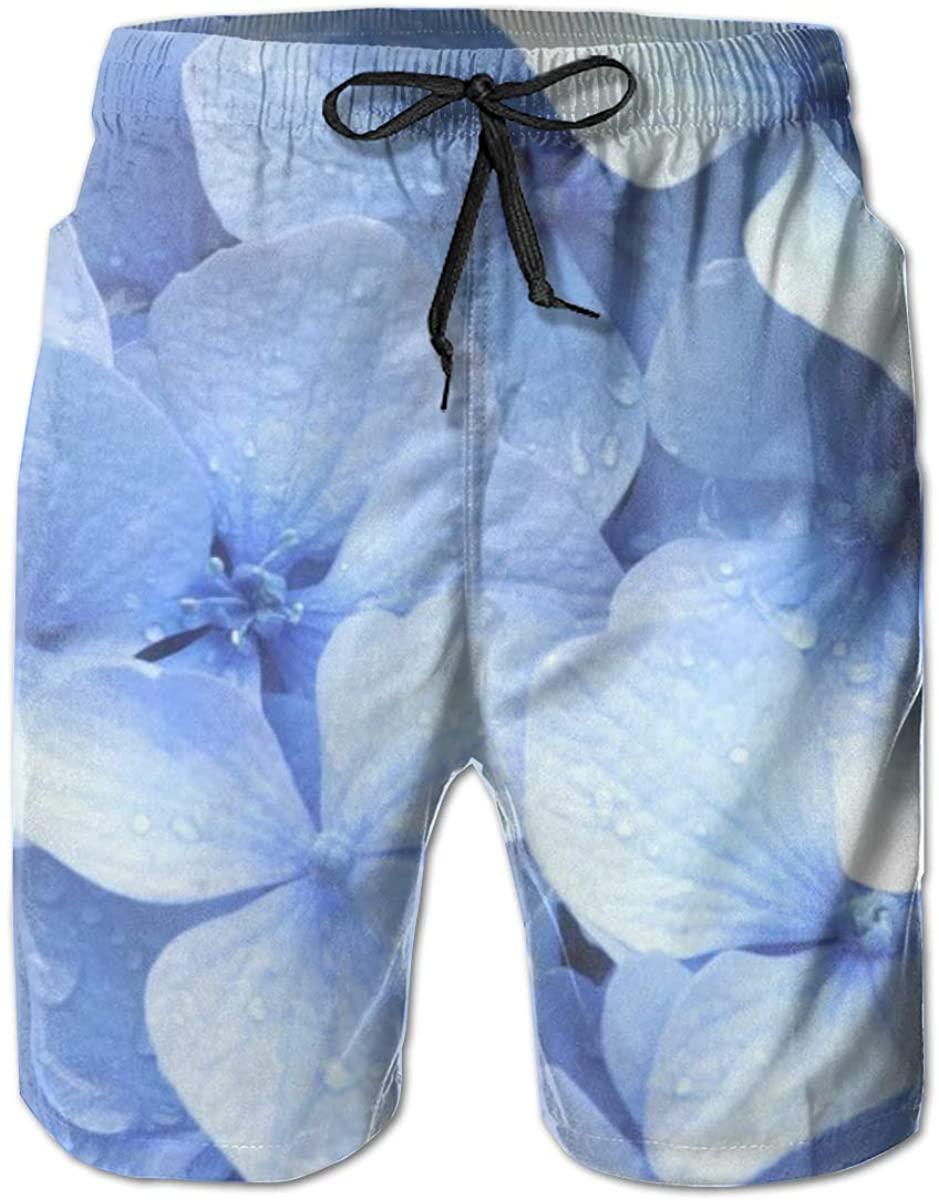 INWANZI Men Summer Beach Board Shorts Swim Trunks with Pockets (Blue Purple Galaxy)