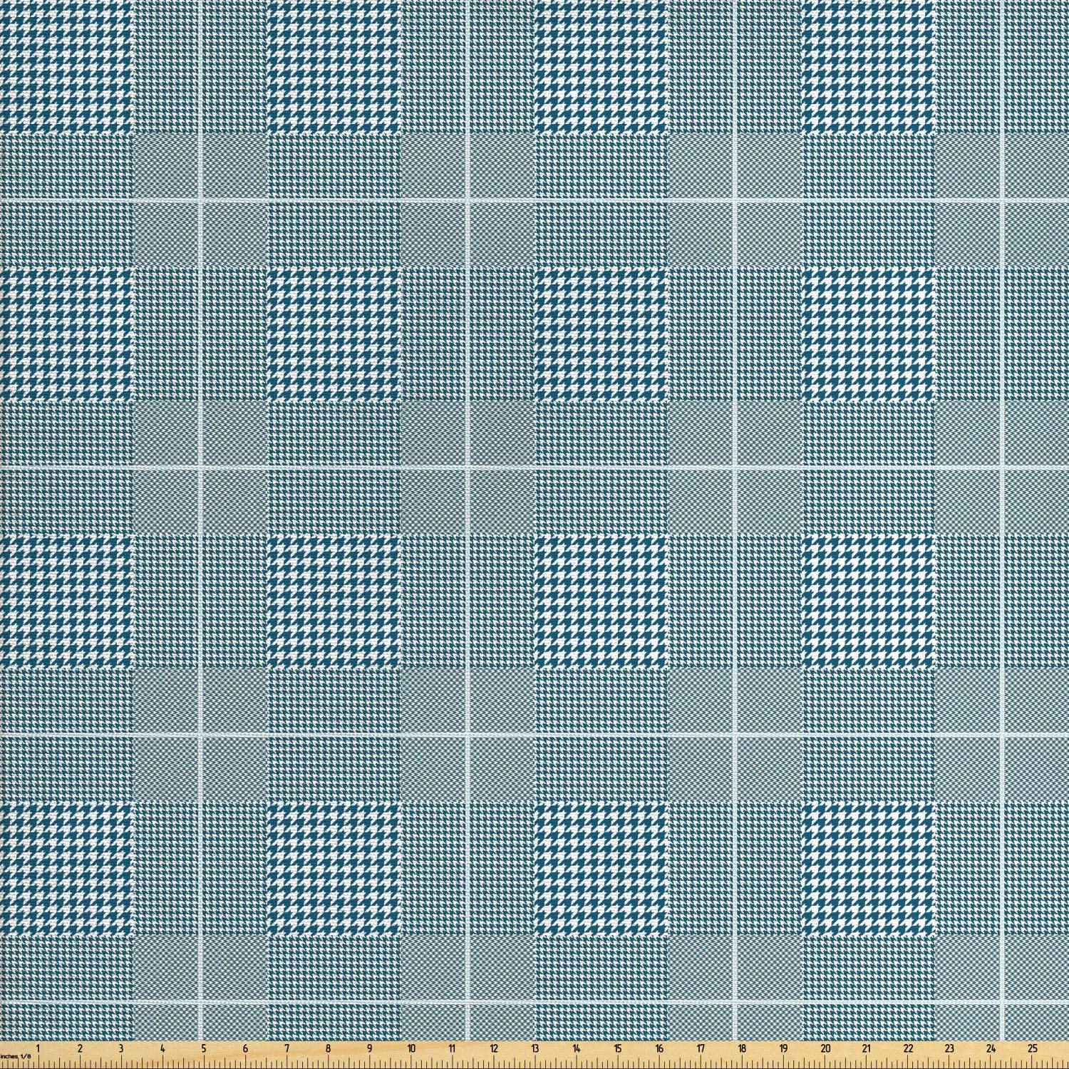 Ambesonne Geometric Fabric by The Yard, Monochrome Plaid Pattern with Classic Houndstooth Squares Check Print, Decorative Fabric for Upholstery and Home Accents, 1 Yard, Petrol Blue and White
