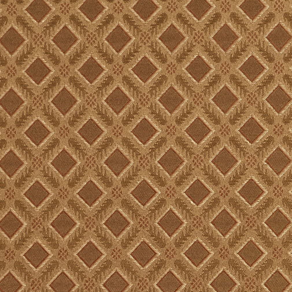 E633 Diamond Green Brown and Gold Damask Upholstery and Window Treatment Fabric by The Yard