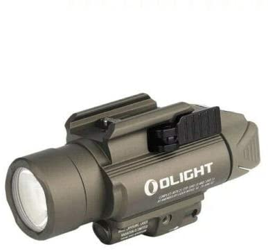OLIGHT Baldr Pro 1350 Lumens Neutral White LED Tactical Flashlight with Green Light, Compatible with 1913 or GL Rail, Powered by Two 1600mAh CR123A Batteries