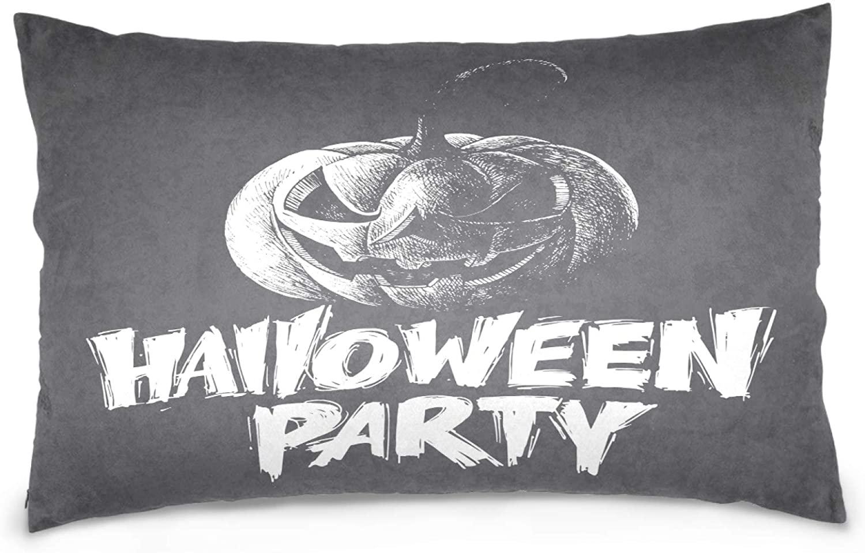 Kaariok Halloween Scary Pumpkin Gray Pillowcase, Cotton Soft Pillow Case Cover Protector with Hidden Zipper 16 X 24 Inches