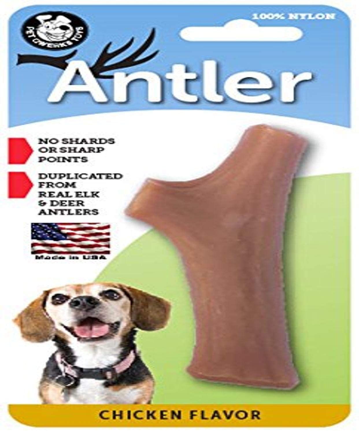 Pet Qwerks Nylon Antler Chicken Flavor - Durable Dog Bones for Aggressive Chewers, Tough Nearly Indestructible Chew Proof Toys | Made in USA, FDA Compliant Nylon - For Medium & Small Dogs (A5)