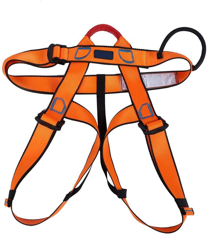 Liyeehao Half Body Safety Belt Rappelling Belt, Climbing Belt, Rock Climbing Belt with Reinforced Loops Stable for high Conditions(Orange)