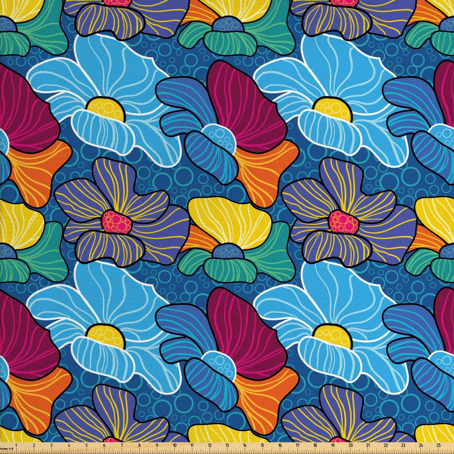 Lunarable Paint Fabric by The Yard, Vibrant Textured Large Flower Petals Beauty Essence Ornamental Boho Fashion Motif, Decorative Fabric for Upholstery and Home Accents, 3 Yards, Multicolor