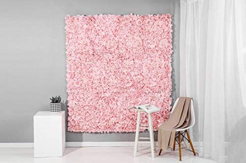 12 Panels Set 3D Artificial Flower Wall Party Home Store Photo Decor Backgound Size 4ft x 8ft Pink
