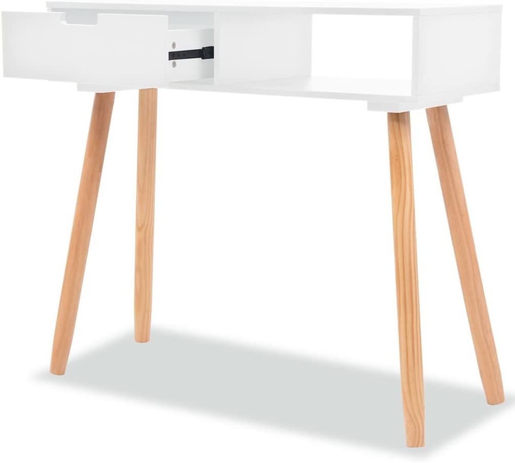 Tidyard Console Table Storage with Drawer with Foot Pads, Telephone Stand, Side/End Table Sideboard Home Decor Solid Pinewood 31.5