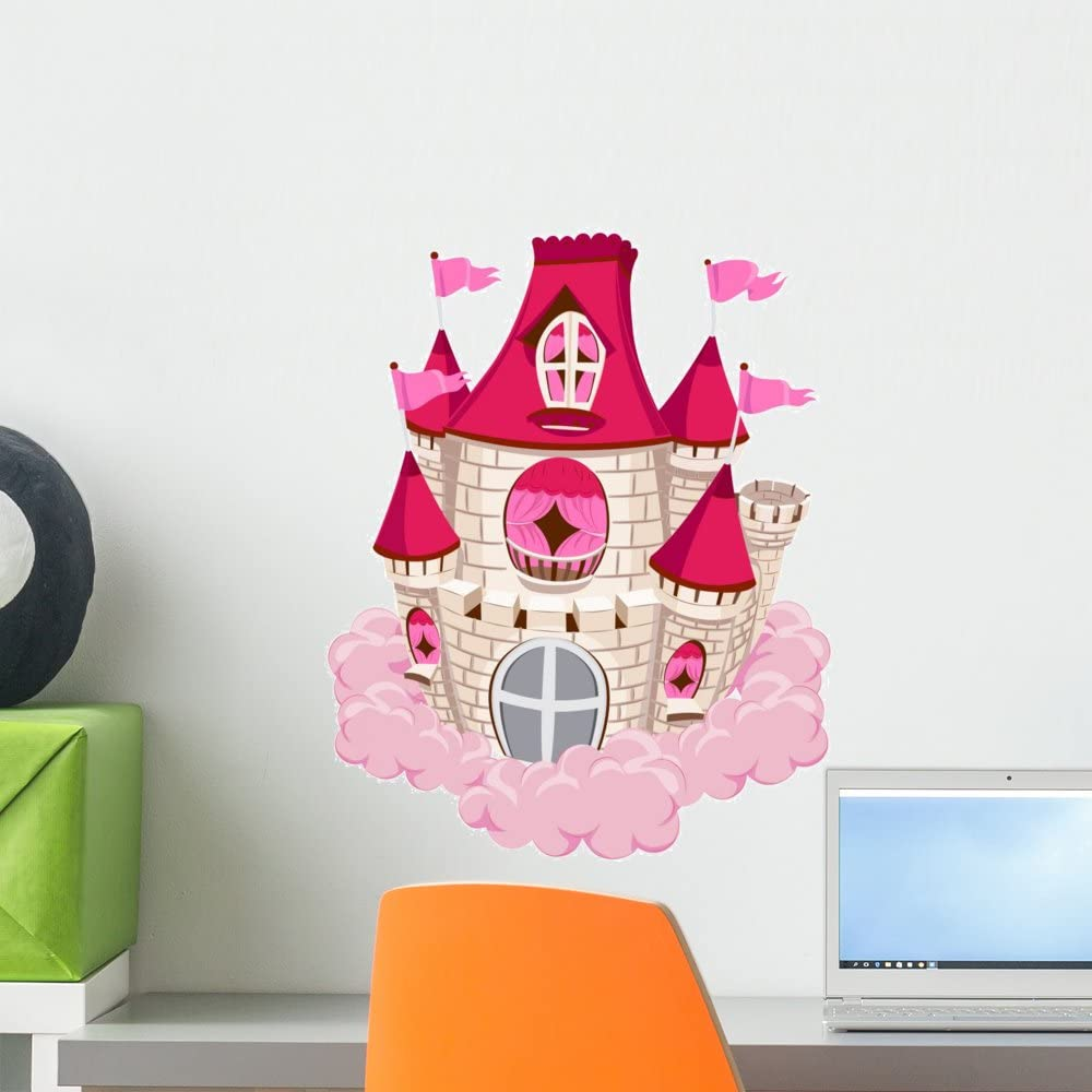 Wallmonkeys Pink Castle Wall Decal Peel and Stick Decals for Girls (18 in H x 15 in W) WM80105