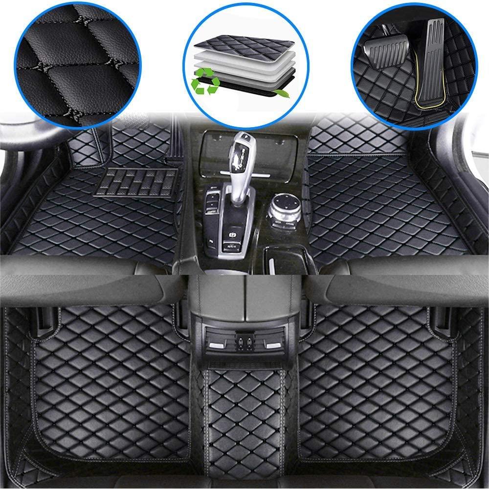 WANLING Car Custom Floor Mats for Mini Cooper S Convertible 2004-2013 Luxury Leather Waterproof Non-Slip Full Coverage Floor Liner Full Set (Black)
