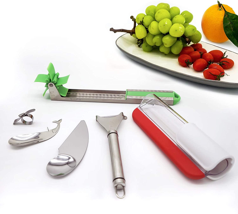 Fruit Slicer Set 6-Piece,Grape Slicer,Stainless Steel Watermelon Slicer,Vegetables Peeler,Kiwi Spoon Knife,Passion Fruit Peeler,Orange Peeler, Multifunctional Efficient Kitchen Gadgets
