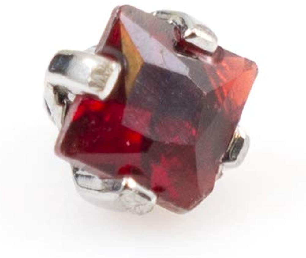 BodyJewelryOnline Red Square Jewel Internally Threaded Dermal Top 2mm