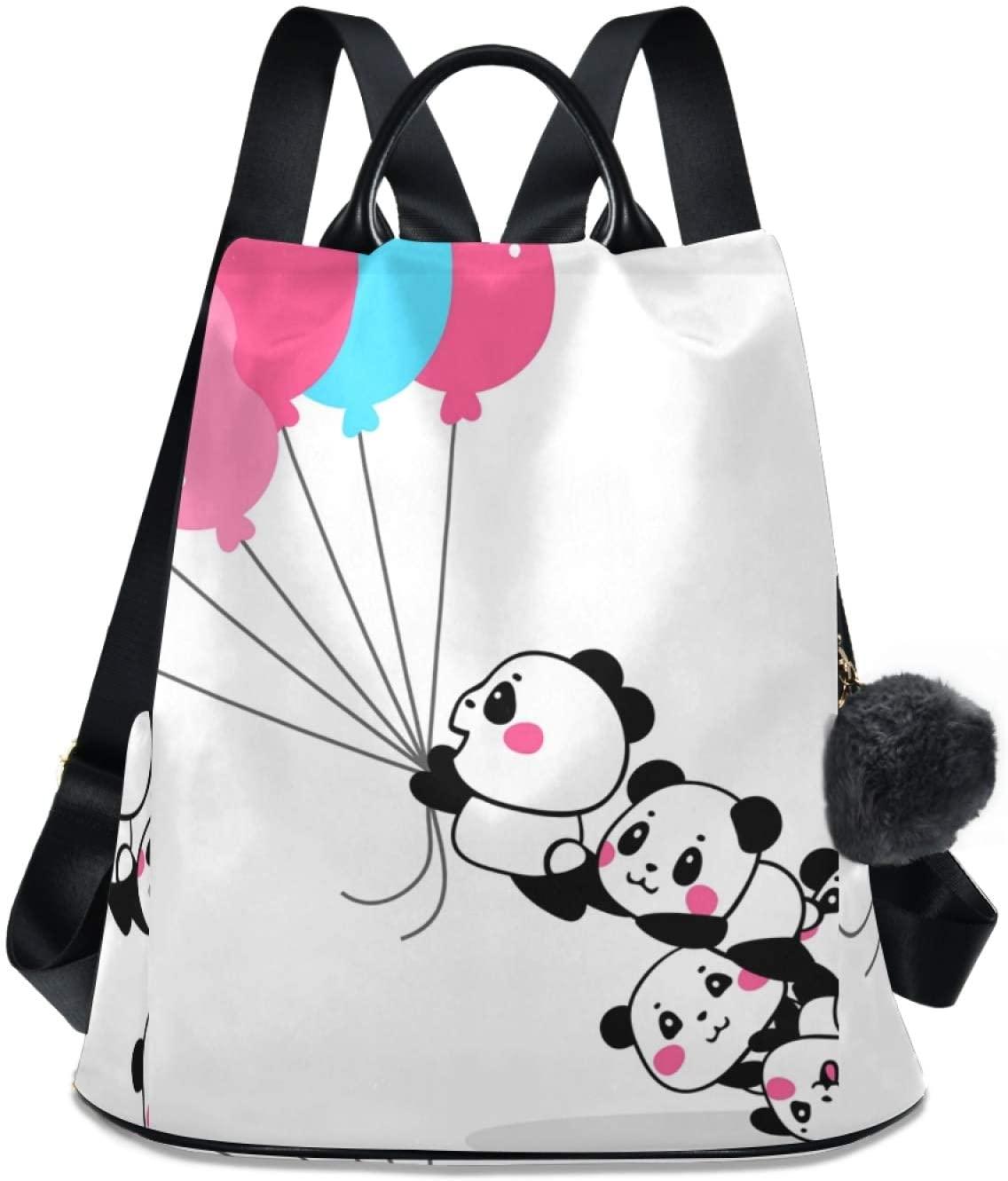 Ladies Backpack Panda Balloon School Backpack Shoulder Bag for Boys Girls Teens Schoolbag Travel Bag Bookbag