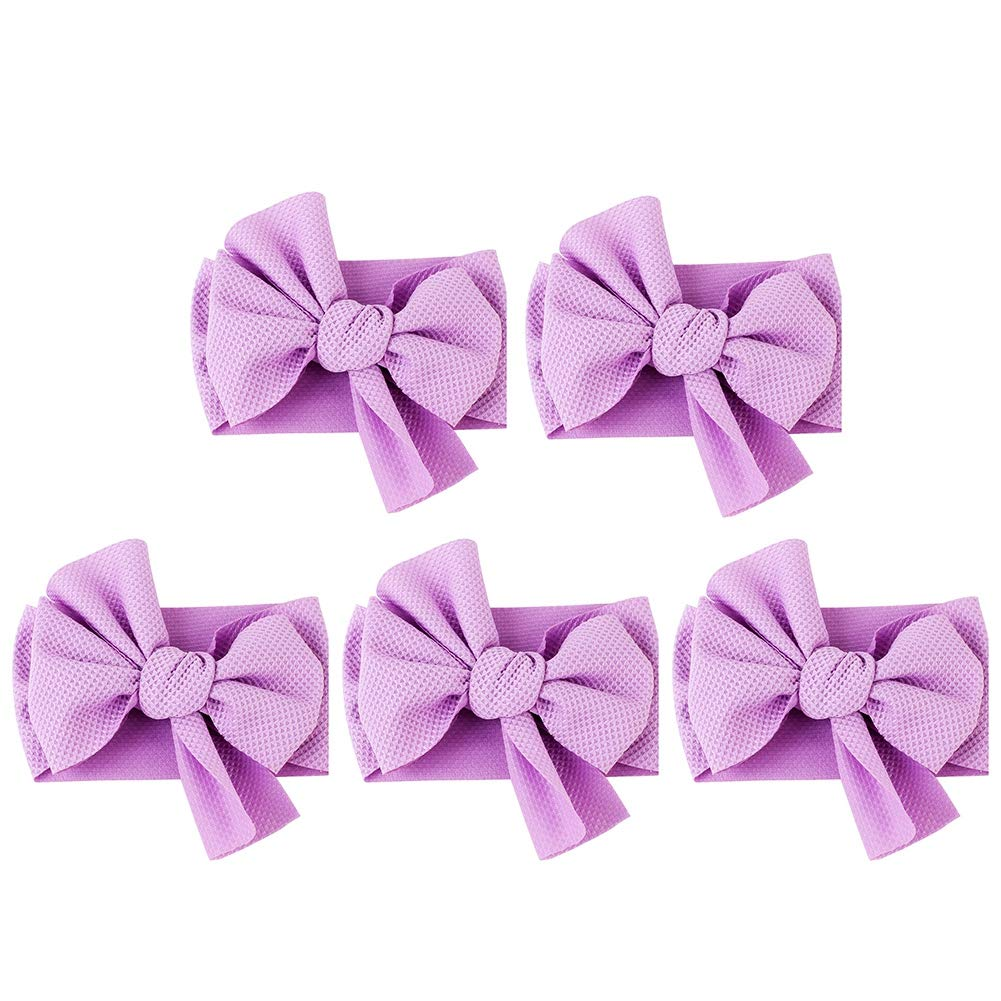 5pcs Baby Bowknot Headband Baby Hairbands Headwear Toddler Gift Head Wrap Newborn Hair Accessory(A)