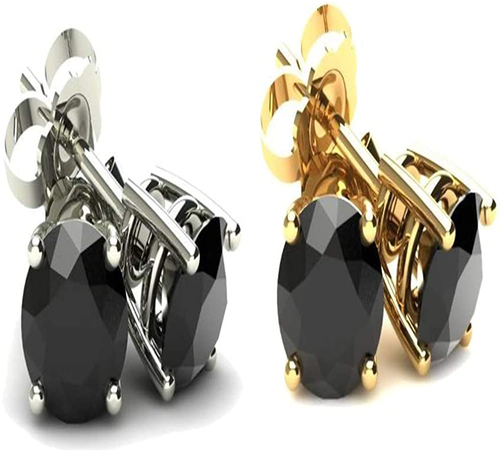 4 Ct Round Heat Treated Black Diamond 14K White Or Yellow Gold Studs Earrings in Basket Setting