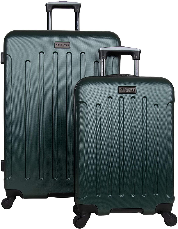 Heritage Travelware Lincoln Park 2-Piece 20/28 Durable Lightweight Hardside 4-Wheel Spinner Luggage Set, Eden Green