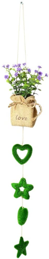 Amosfun Hanging Mini Potted Plant Artificial Burlap Potted Flower Creative Desktop Ornament Centerpiece for Wedding Valentines Home Wall Decor (Star Heart)