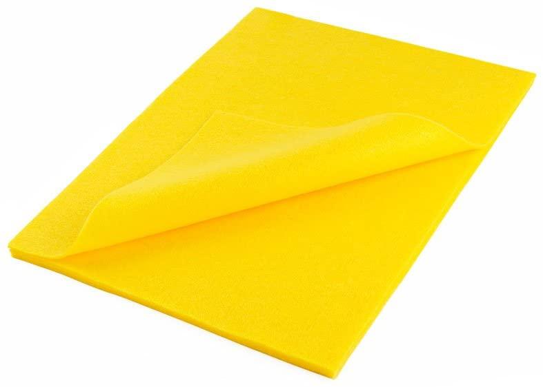 """Acrylic Felt Sheet 9"""" X 12"""": 5 PCS, Yellow"""