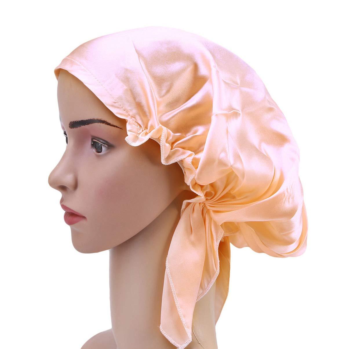 Beaupretty Mulberry Silk Night Sleeping Cap, Long Hair Bonnet Sleep Cap Elastic Band Nightcap Soft Head Warp Hat for Women Girls (Pink)